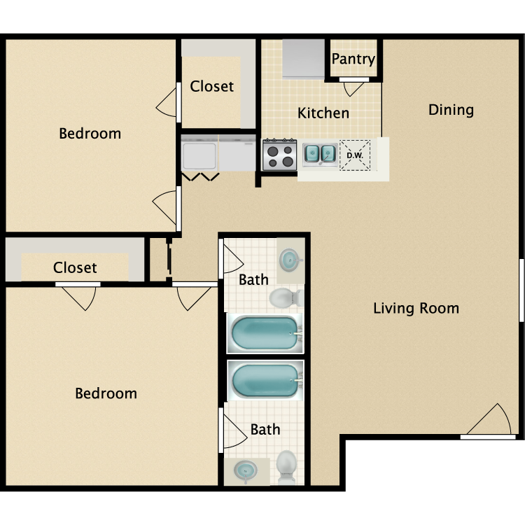 Floor plan image of 2 Bedroom 2 Bathroom