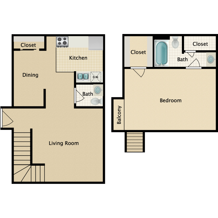 Floor plan image of 1 Bedroom 1.5 Bathroom