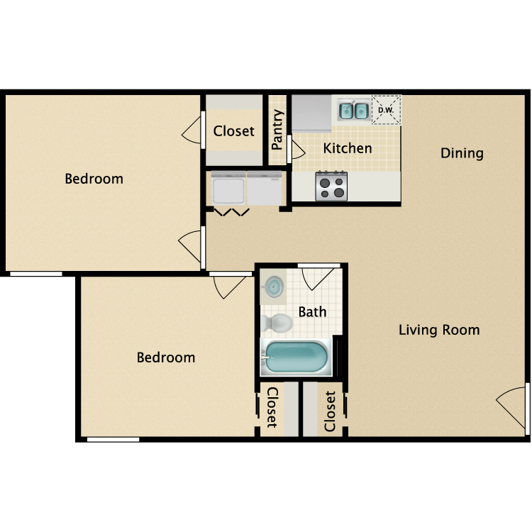 Floor plan image of 2 Bedroom 1 Bathroom Duplex