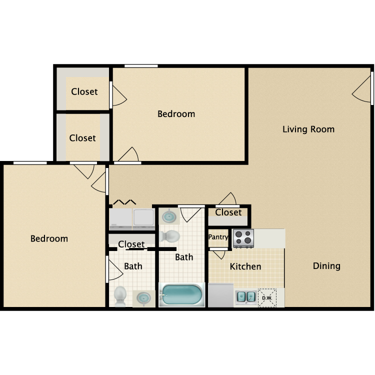 Floor plan image of 2 Bedroom 1.5 Bathroom Duplex
