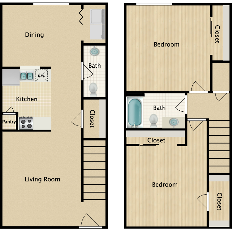Floor plan image of 2 Bedroom 1.5 Bathroom Townhome