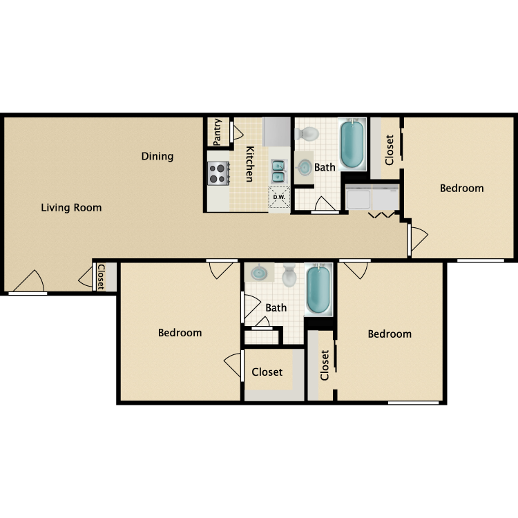 Floor plan image of 3 Bedroom 2 Bathroom Duplex
