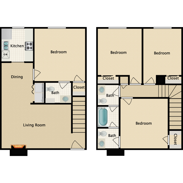 Floor plan image of 4 Bedroom 2.5 Bathroom