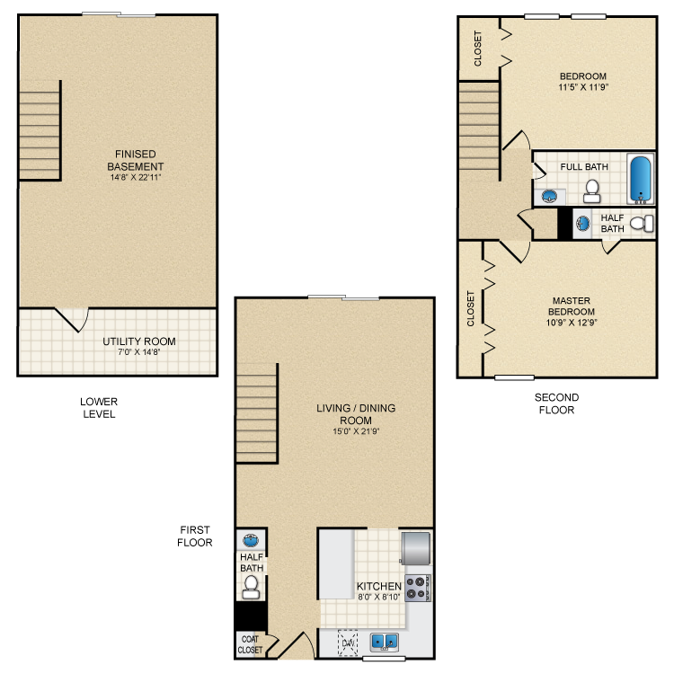 Floor plan image of 2 Bed Townhome 1