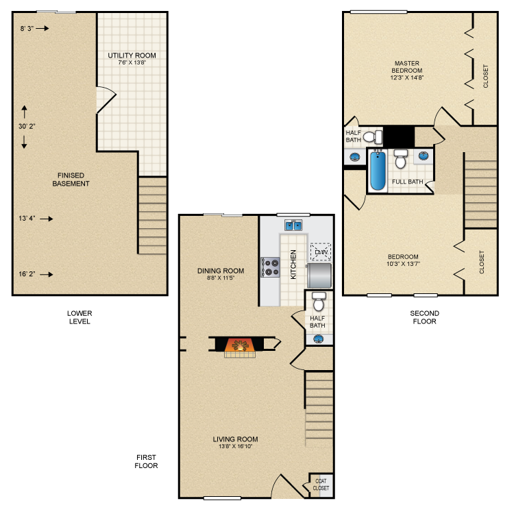 Floor plan image of 2 Bed Townhome 3