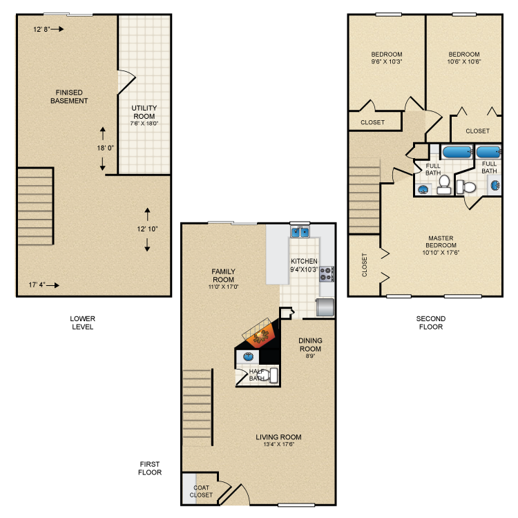 Floor plan image of 3 Bed Townhome 1