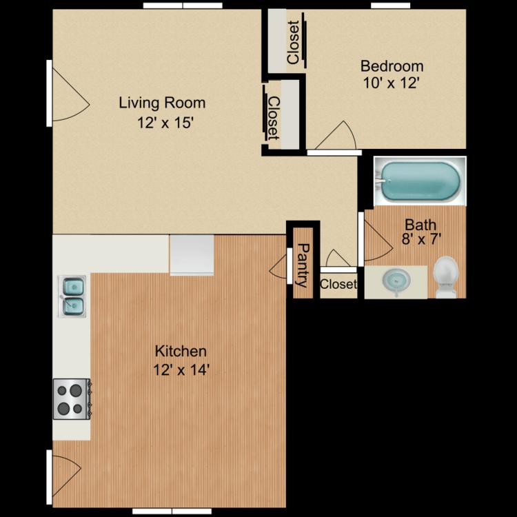 Floor plan image of 1 Bedroom A
