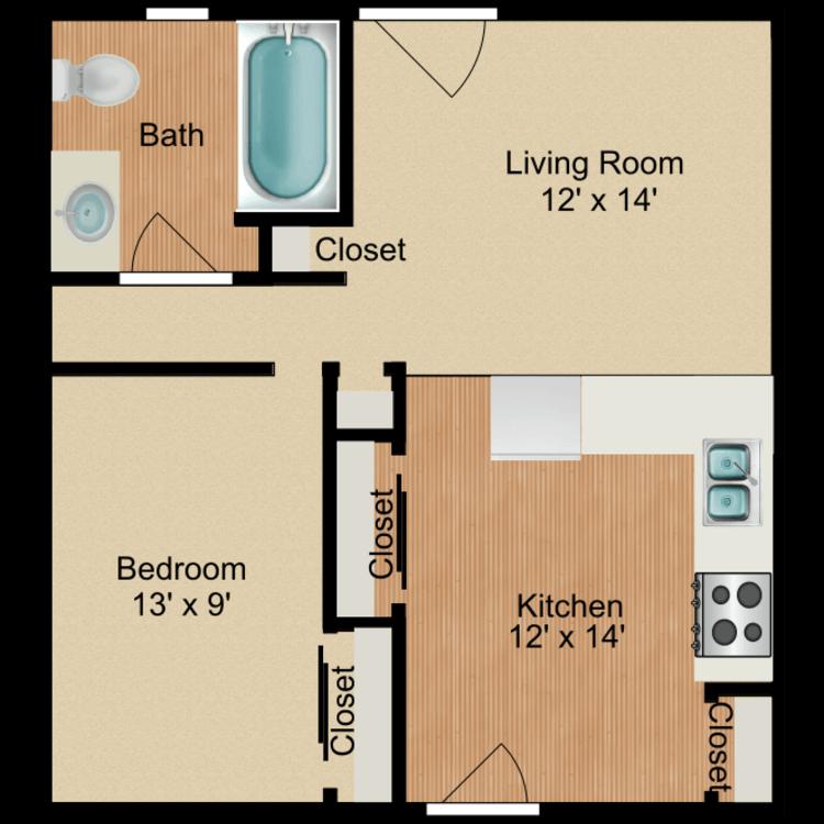 Floor plan image of 1 Bedroom B