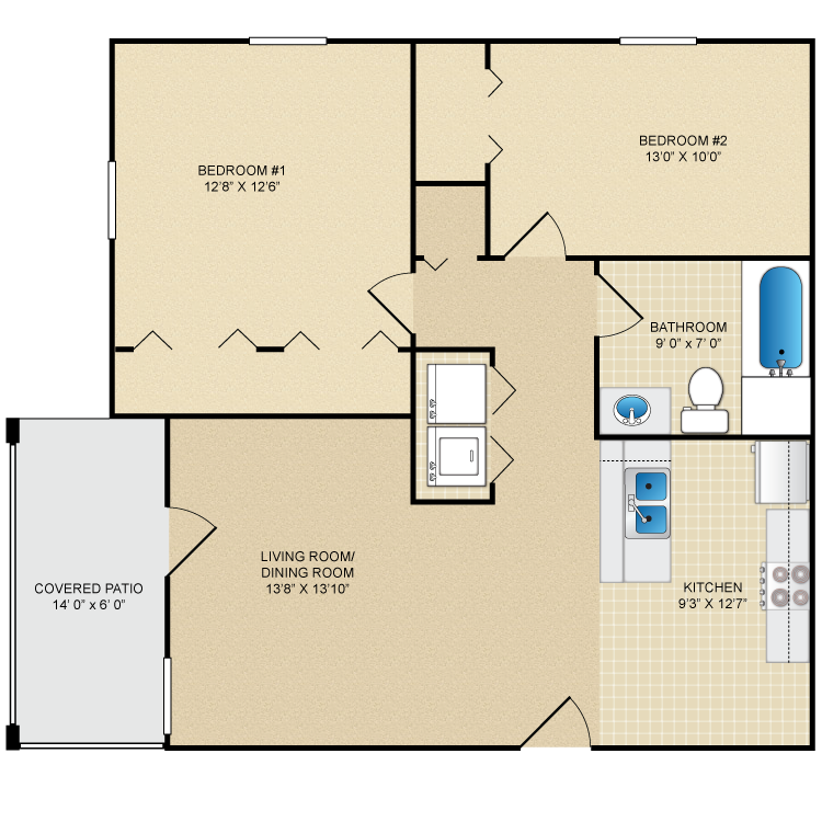 Floor plan image of 2 Bed 1 Bath Upstairs