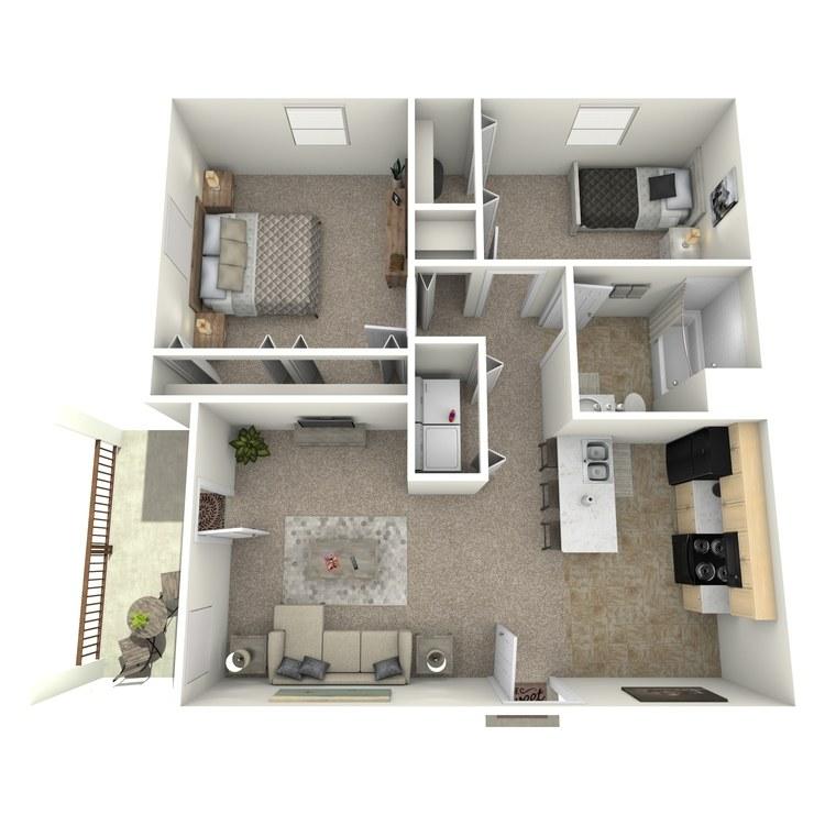 Floor plan image of 2 Bed 1 Bath Upstairs