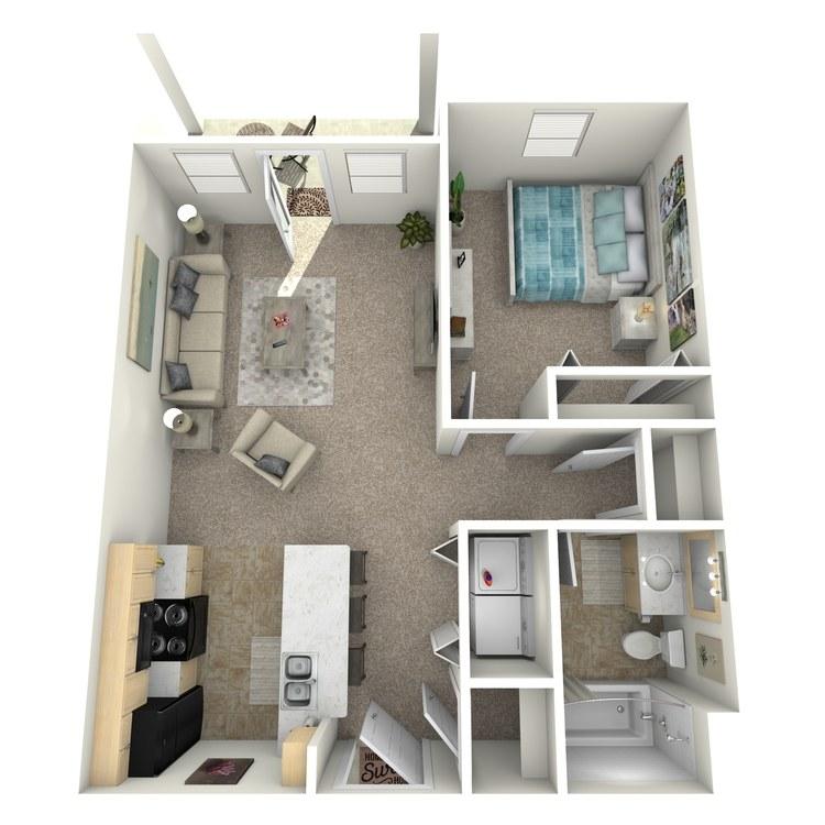 Floor plan image of 1 Bed 1 Bath Downstairs
