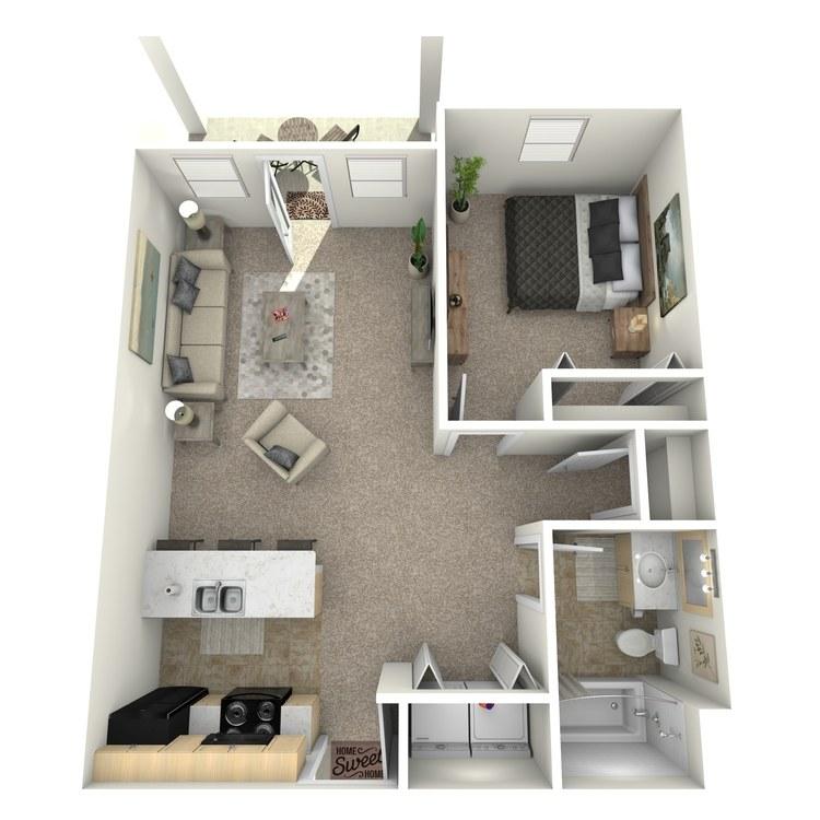 Floor plan image of 1 Bed 1 Bath Upstairs