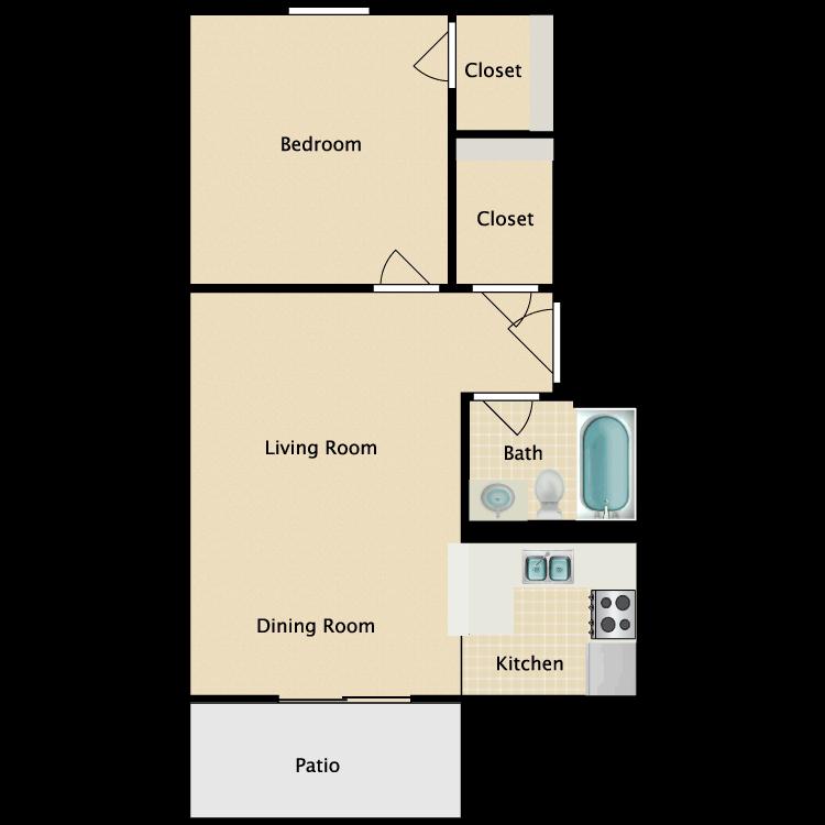 Floor plan image of One Bedroom Alternative