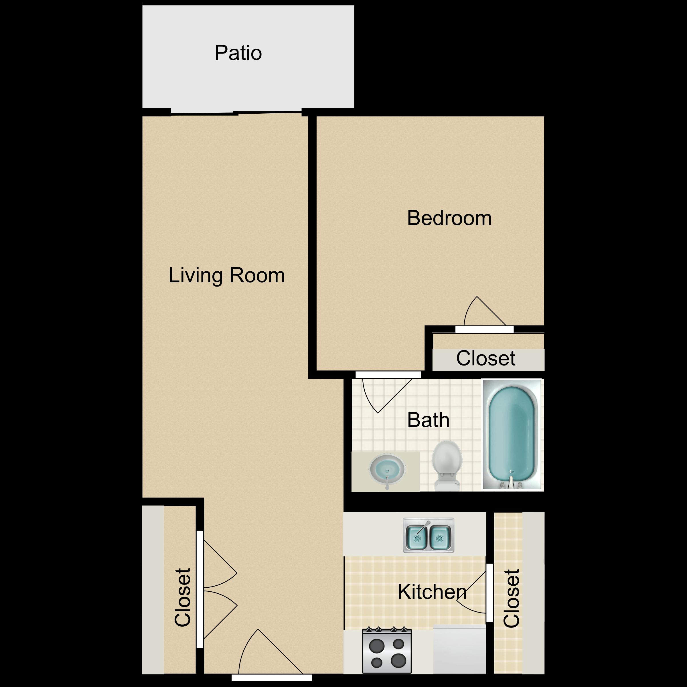 Floor plan image of Junior One Bedroom