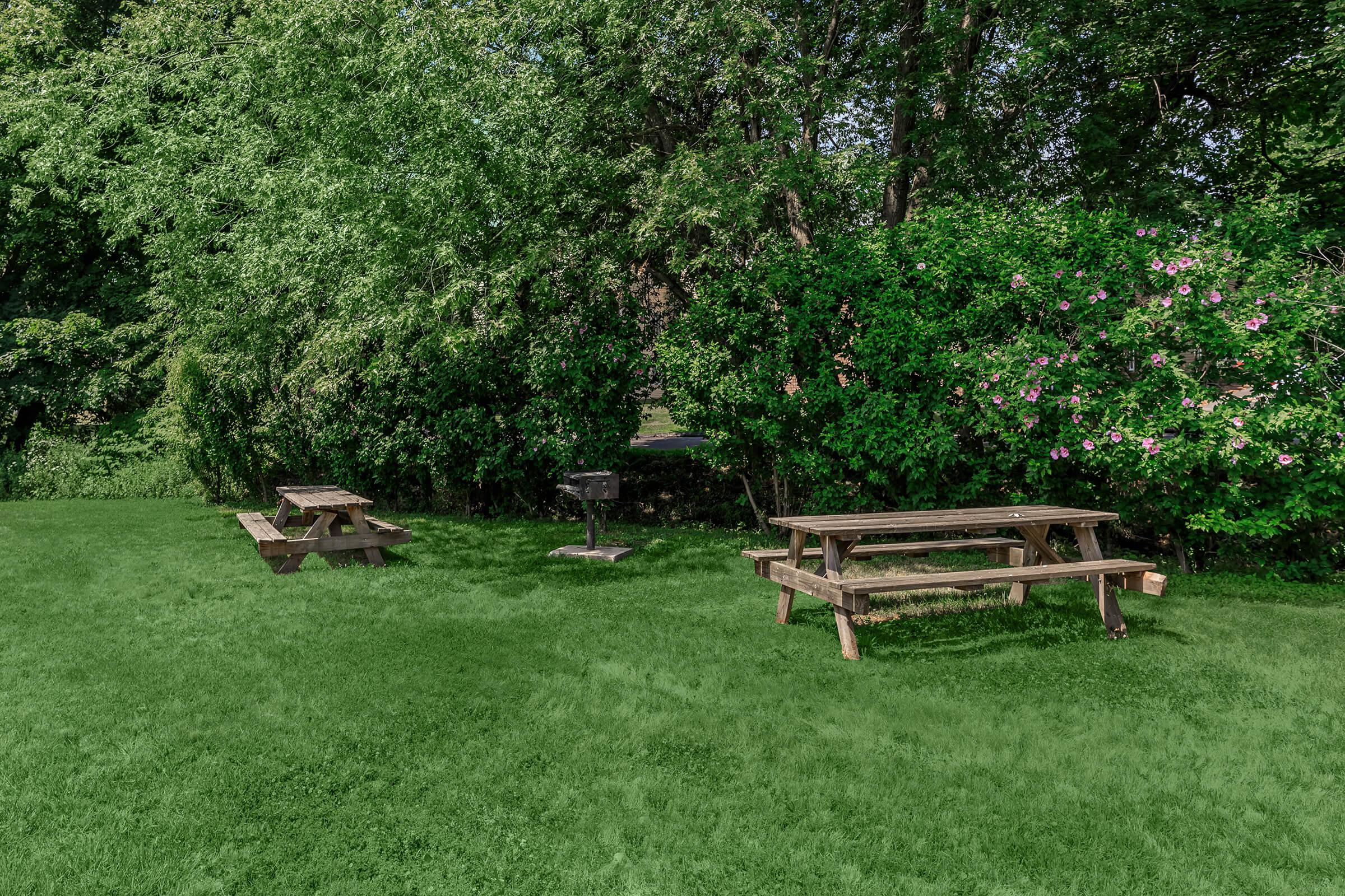 a green park bench sitting in the middle of a field