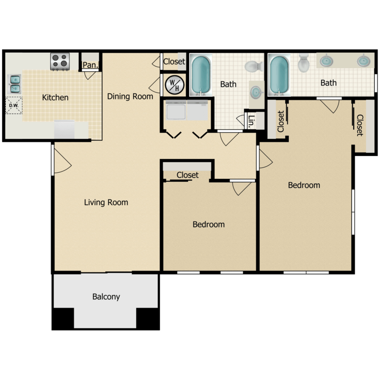 Floor plan image of Two Bedroom C