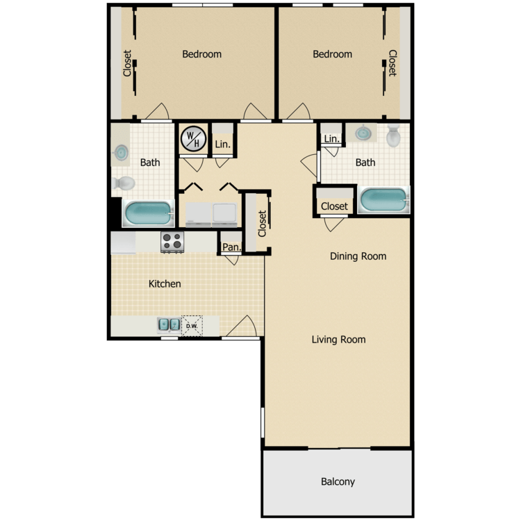 Floor plan image of Two Bedroom D