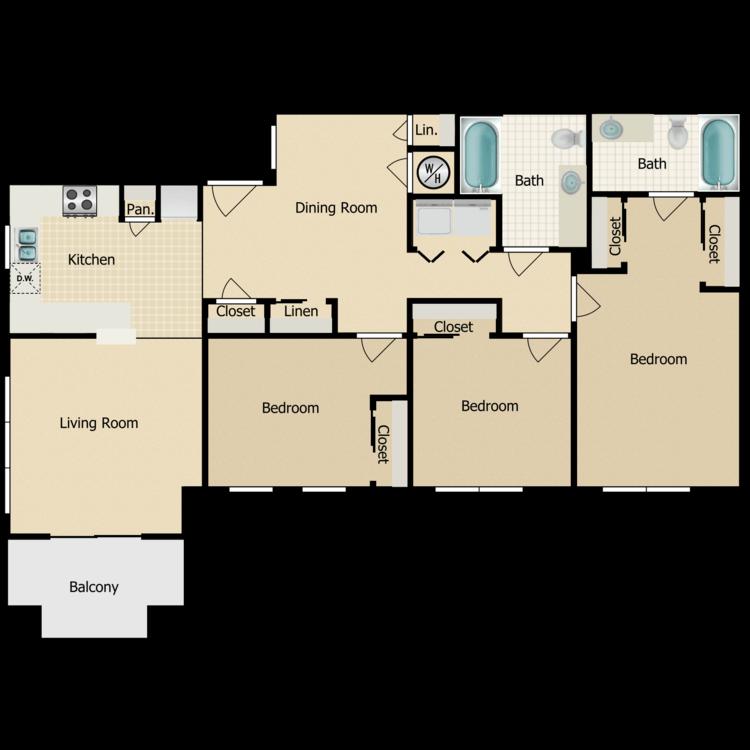 Floor plan image of Three Bedroom B