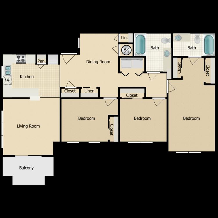 Floor plan image of Three Bedroom C