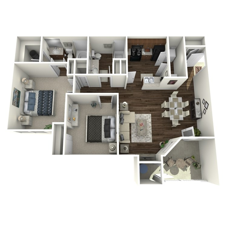 Floor plan image of Two Bedroom Two Bath A