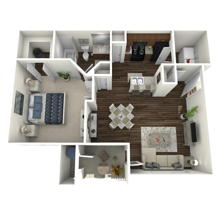 Floor plan image of One Bedroom One Bath A