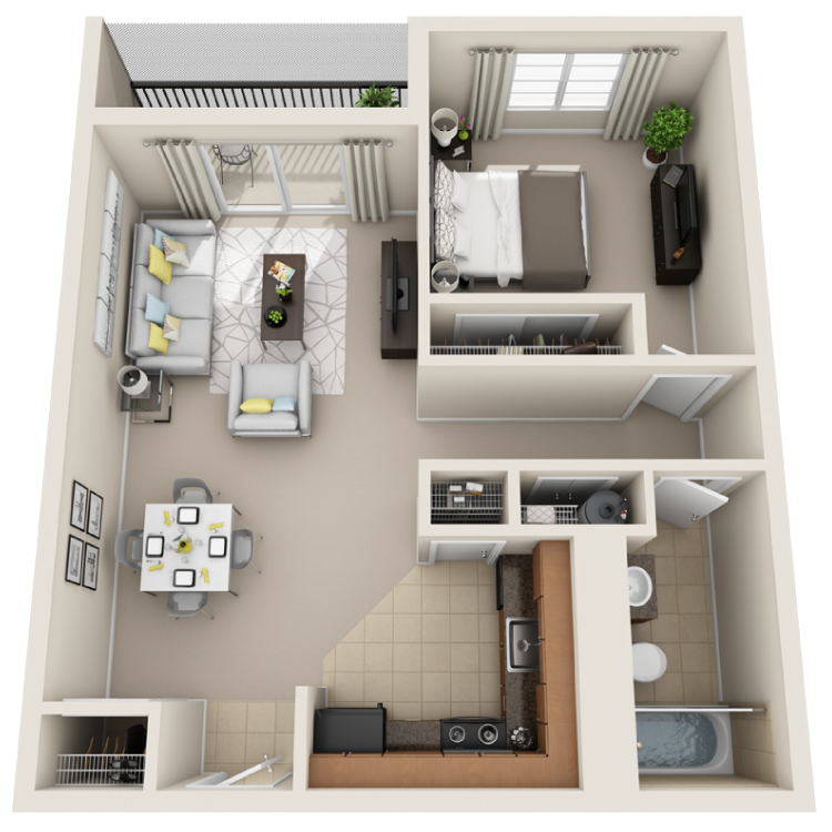 Floor plan image of 1 Bed / 1 Bath
