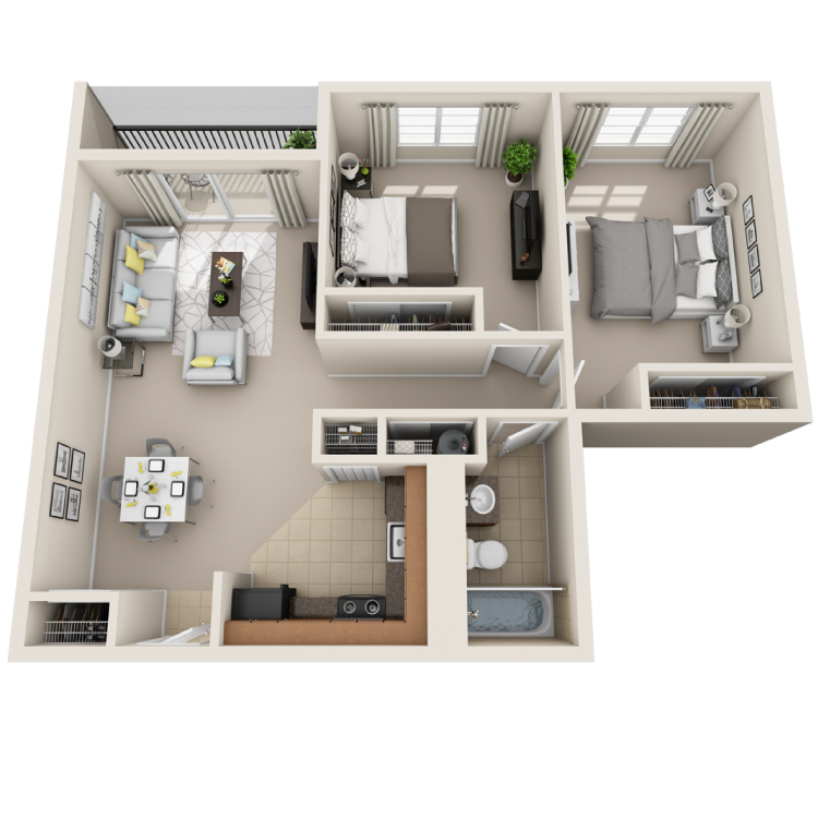 Floor plan image of 2 Bed / 1 Bath