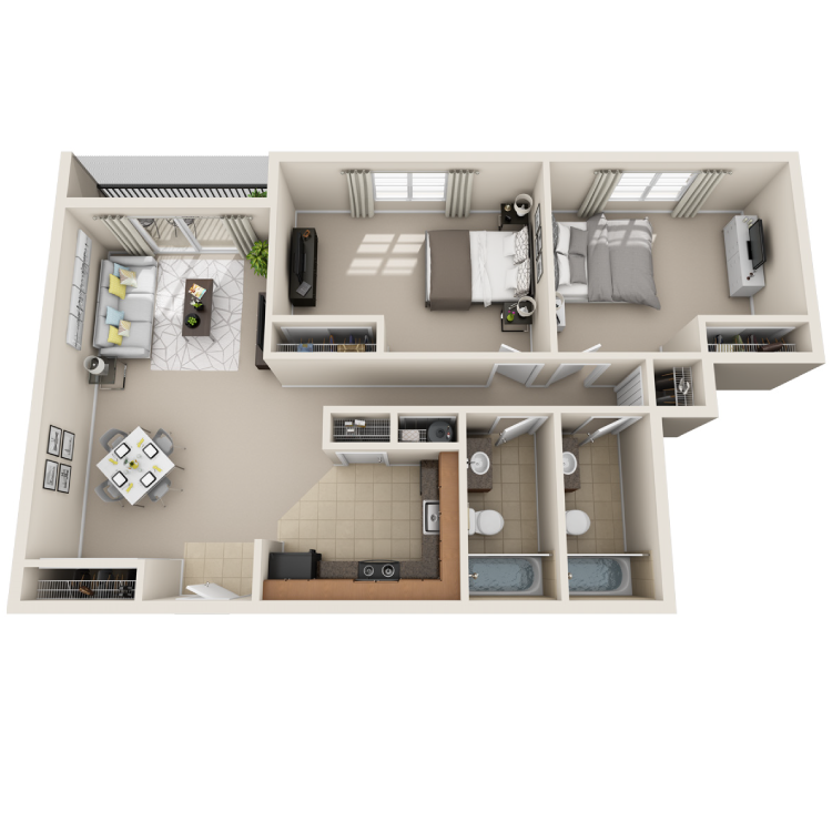 Floor plan image of 2 Bed / 2 Bath