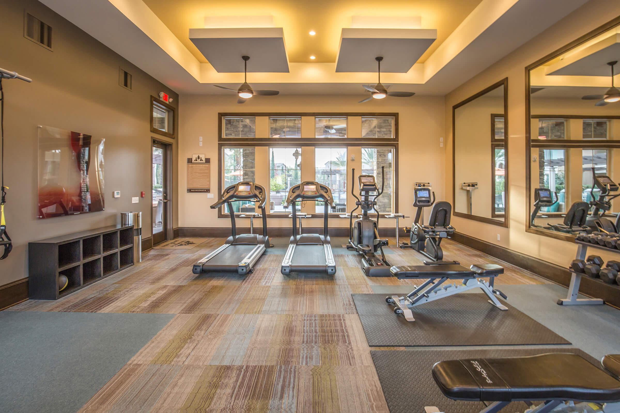 Work-out equipment in The Retreat at Riverlakes gym