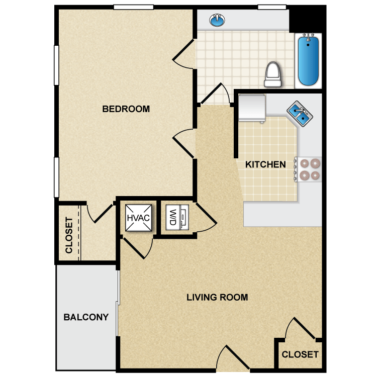 Floor plan image of A2 1 Bed