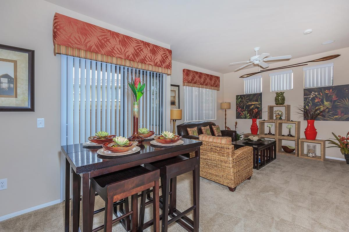 Vertical Blinds and Carpeted Floors in Homes at The Preserve Apartments in North Las Vegas, Nevada