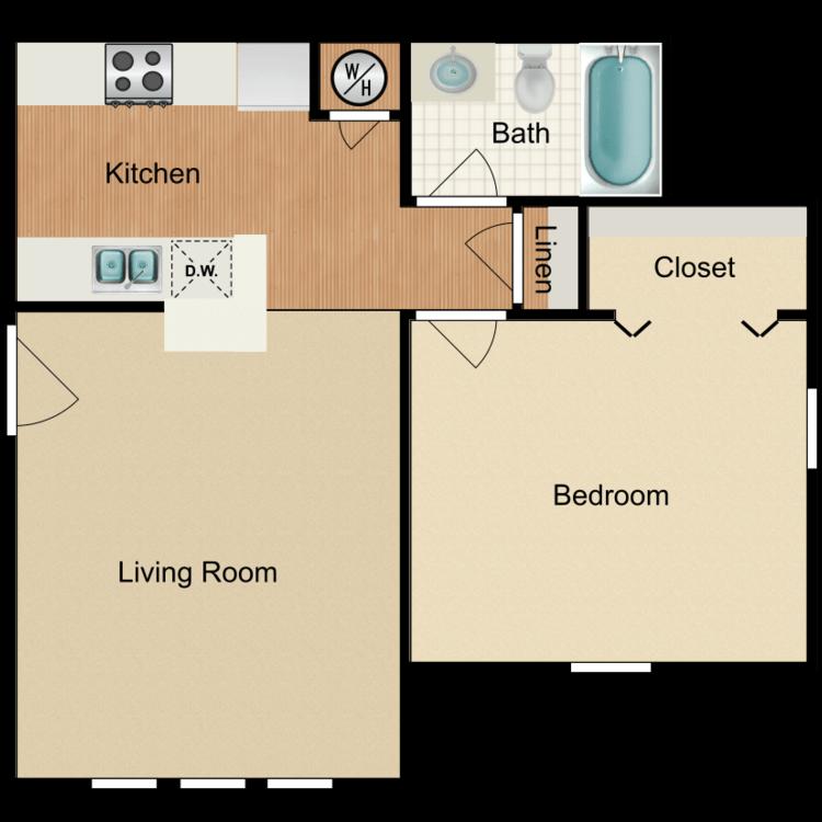 Floor plan image of 1 Bed 1 Bath Suite