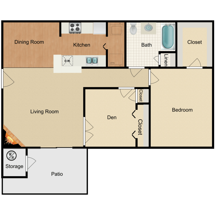 Floor plan image of 1 Bed 1 Bath+Den