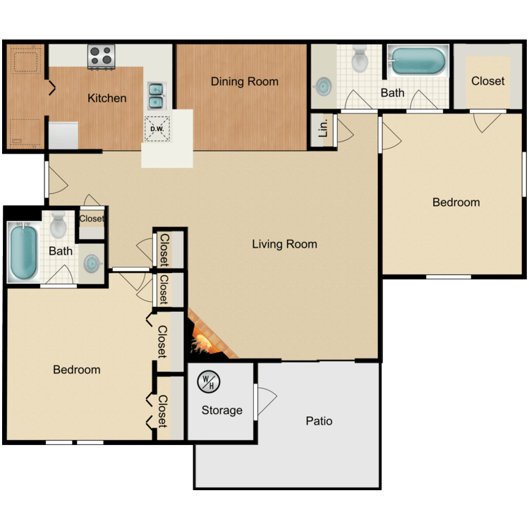 Floor plan image of Large 2 Bed 2 Bath