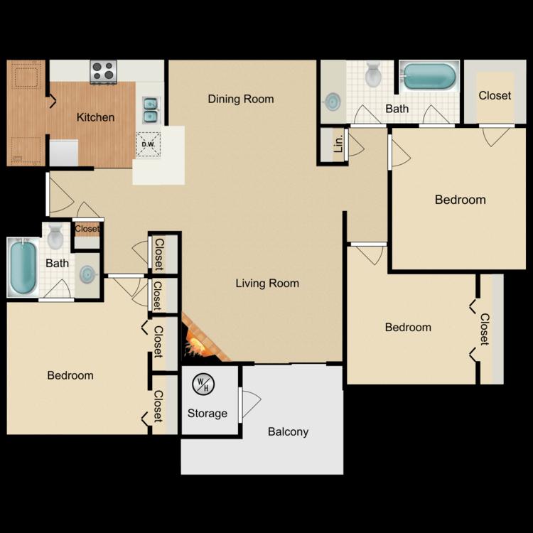 Floor plan image of 3 Bed 2 Bath A