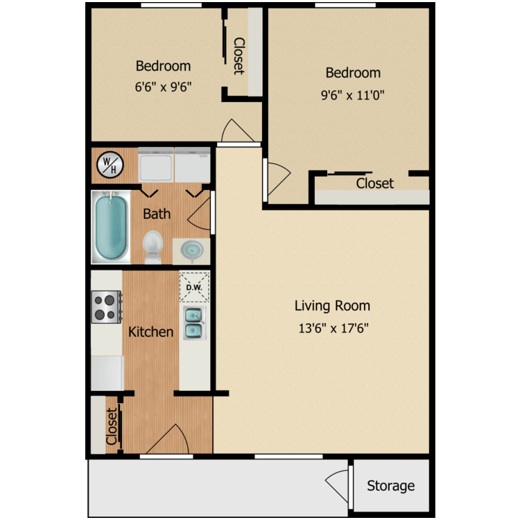 Floor plan image of 2 Bed 1 Bath