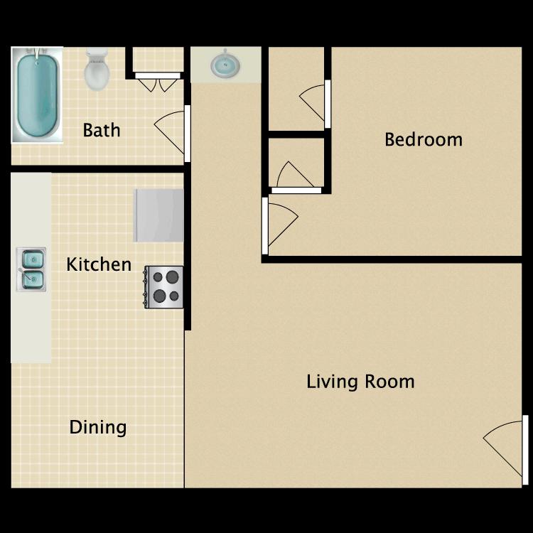 Floor plan image of 1 Bed 1 Bath C