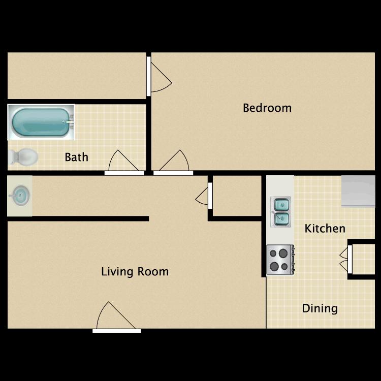 Floor plan image of 1 Bed 1 Bath CC