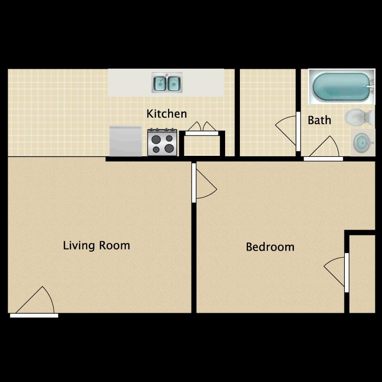 Floor plan image of 1 Bed 1 Bath F