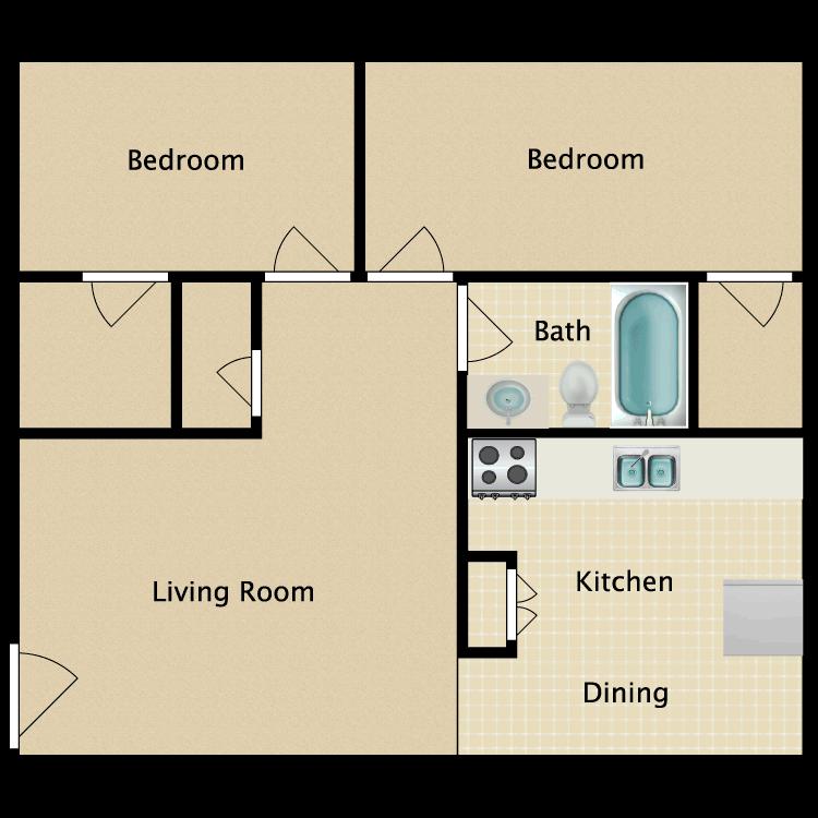 Floor plan image of 2 Bed 1 Bath 2C