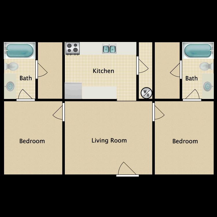 Floor plan image of 2 Bed 2 Bath 2A