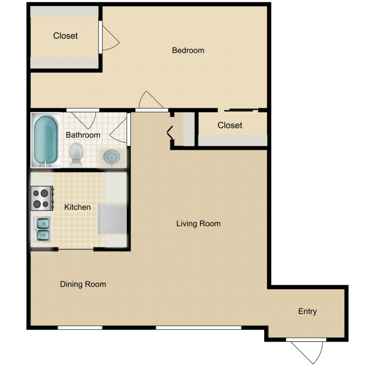 Floor plan image of A1 1 Bed 1 Bath Flat