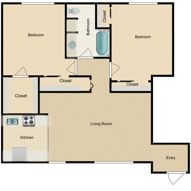 Floor plan image of B1 2 Bed 1 Bath Flat