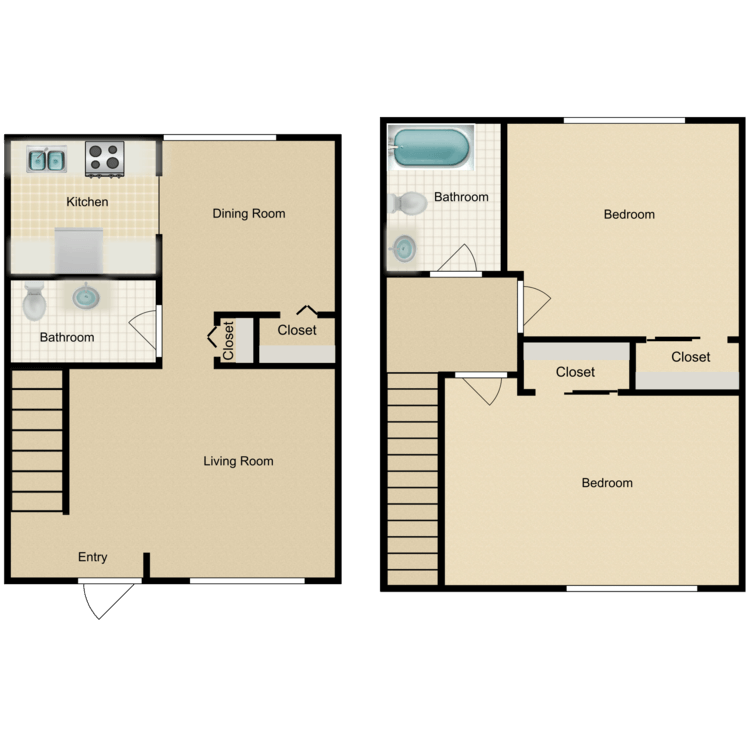 Floor plan image of B2 2 Bed 1.5 Bath Townhome