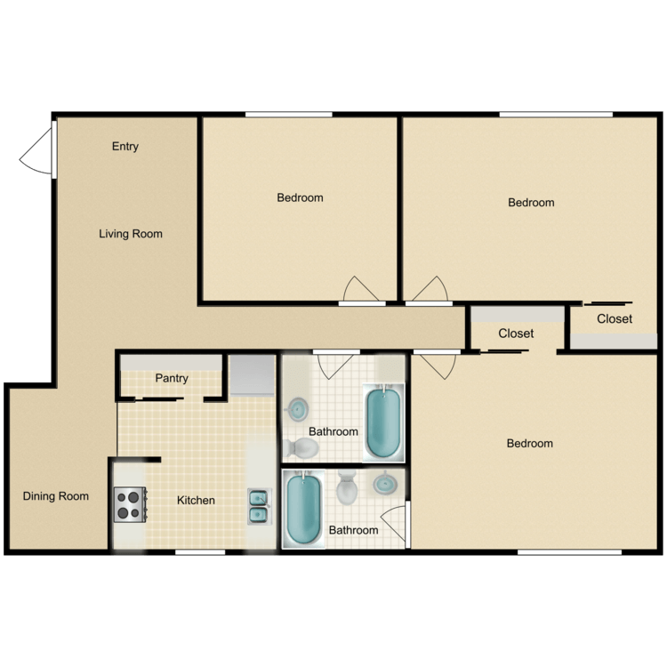Floor plan image of C1 3 Bed 2 Bath Flat