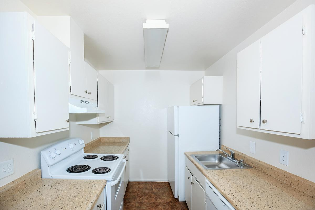a kitchen with a stove sink and refrigerator