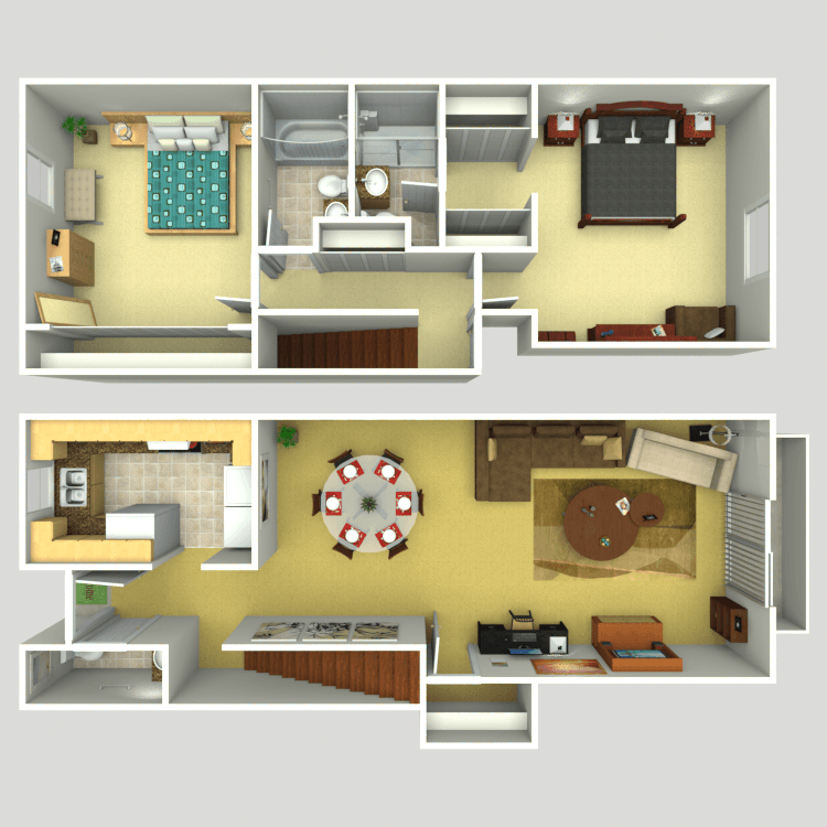 2 Bedroom TownhouseHeritage at Temple Terrace Apartments   Availability  Floor Plans  . 2 Bedroom Townhouse. Home Design Ideas
