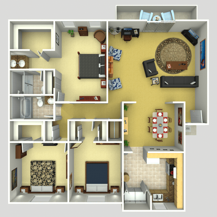 3 Bedroom 2 Bath Furnish This Floor Plan