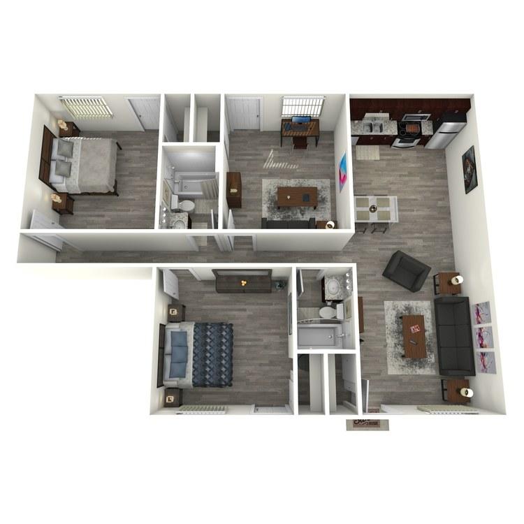 Floor plan image of 3x2 w/Study
