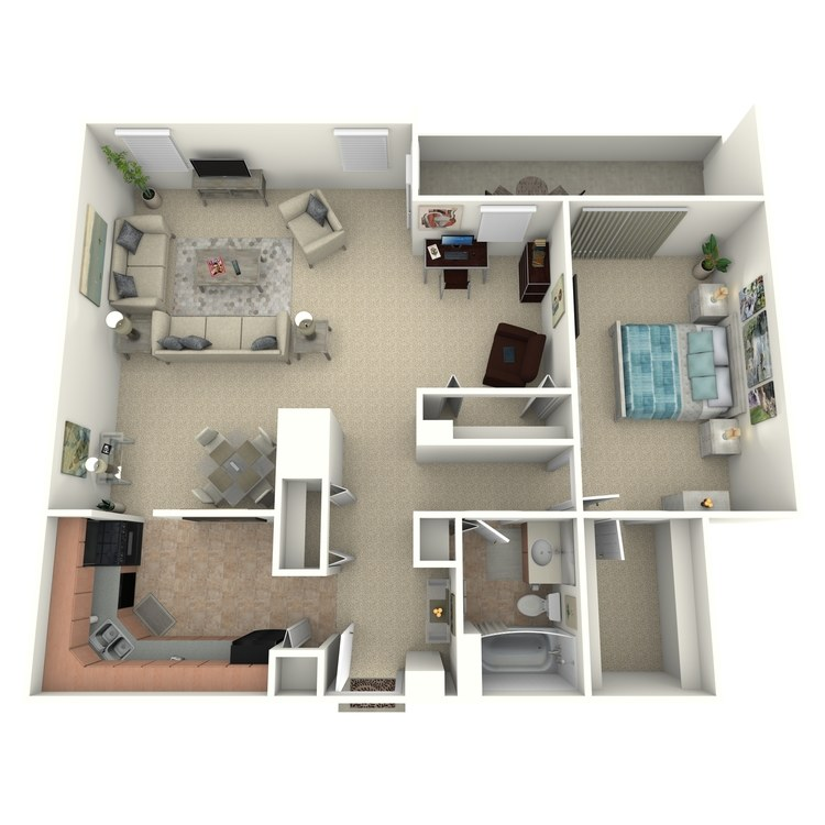 Floor plan image of 1 Bed 1 Bath 1 Den